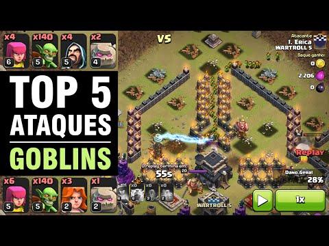GOVABLIN, HOBLIN, GOWIBLIN? TOP 5 ATAQUES com GOBLINS da WARTROLL 5 - Clash of Clans