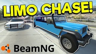 LIMO & NO BRAKES POLICE CHASE & CRASHES! - BeamNG Gameplay & Crashes - Cop Escape