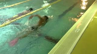 Style1水泳動画 アンバランス 右手にパドル、右足にフィンをはい...