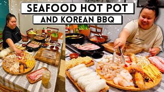SEAFOOD HOT POT + KOREAN BBQ PORK BELLY AT HOME + SPRING ROLLS 먹방 MUKBANG EATING SHOW! *OMG!*