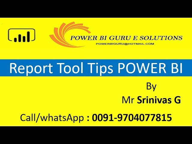 Report tool tips in Power BI | Power Bi Training | Power BI for beginners | PowerBI Guru