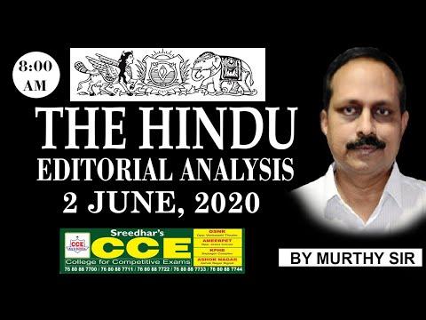 The Hindu Editorial Analysis By Murthy Sir | 2 June 2020 | English Vocabulary