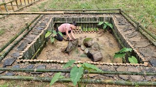 How to build baṁboo house 2021 for crab, Dig, Garden, Bamboo fence - Ep.87