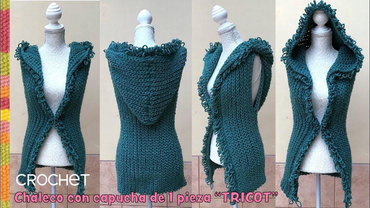 9f3212b8c Chaleco con capucha a crochet en punto elástico tricot - Patrones gratis
