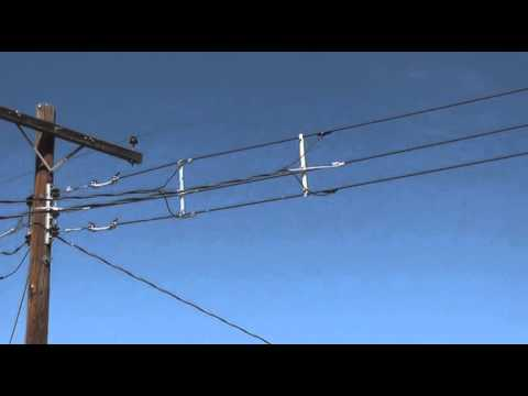 electrical mid line drop for new triplex service to the house - YouTube