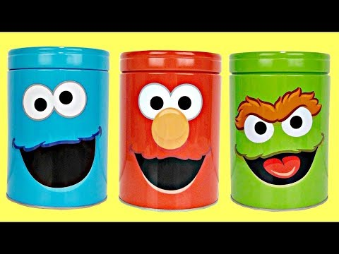 Sesame Street Coin Bank Toy Surprises: ELMO OSCAR Grouch COOKIE Monster, Slime Gumballs Candies TUYC
