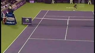Caroline Wozniacki cramping and full body twitch (Doha 2009)