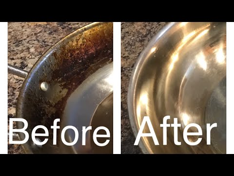 Remove burnt oil stains from pots and pans. Shining Again !