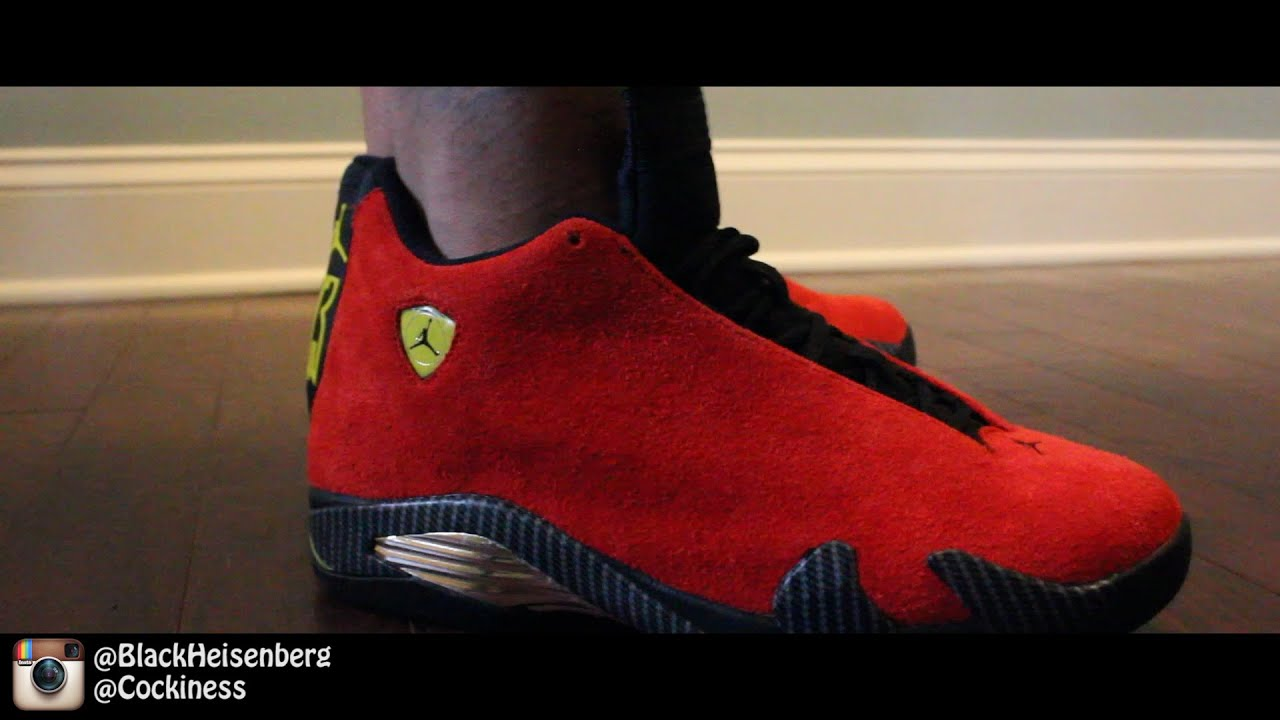 check out f999f e8697 ... official jordan 14 ferrari on foot youtube 4b94d ea98b