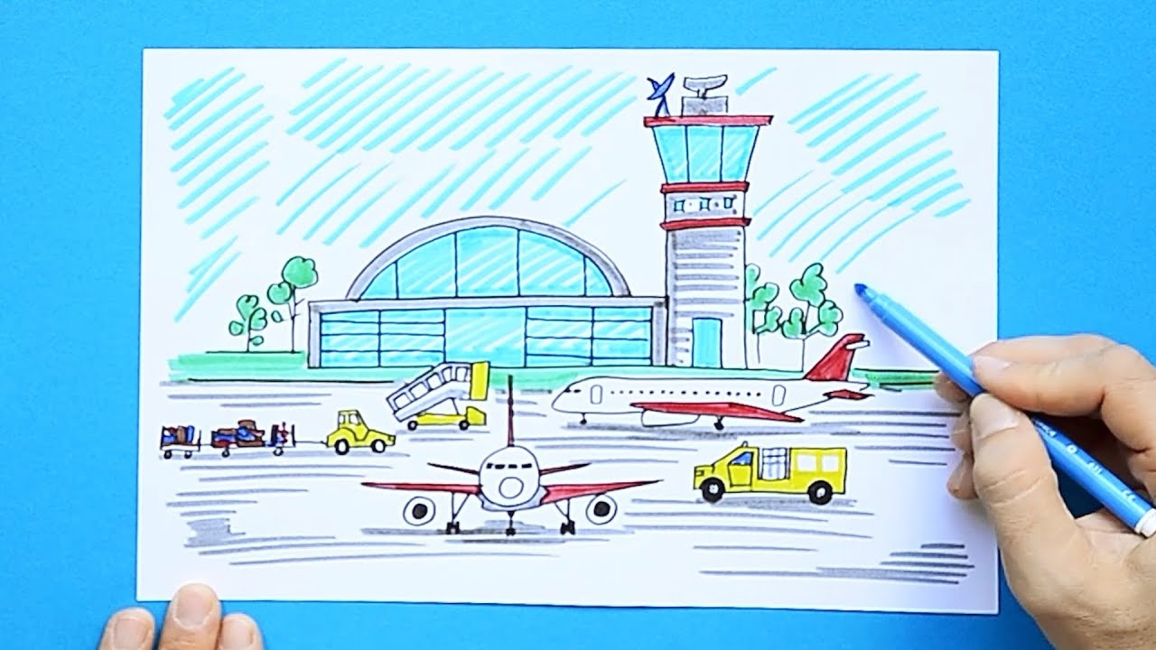 How To Draw An Airport Youtube