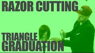 RAZOR HAIRCUT - Triangular Graduated Bob Haircut with a Razor - A LINE BOB