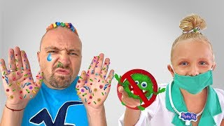 Alicia y papá - historia divertida sobre médico y manos limpias
