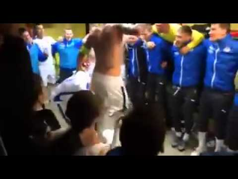 Slovakia players celebrate victory over Luxembourg