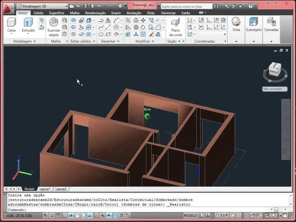 Aula de autocad casa 3d part 1 de 4 youtube for Casa moderna autocad