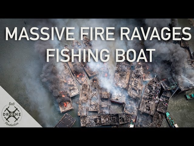 Massive Fire Ravages Fishing Boats in Bali - 4K