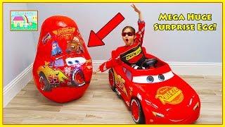 Giant Disney Cars 3 Lightning McQueen Toys Egg Surprise Opening!