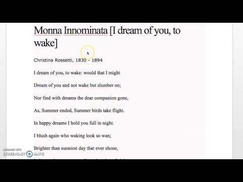 I Dream of You by Christina Rossetti