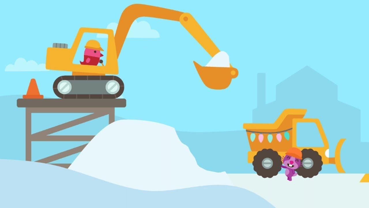 Máy Xúc Cẩu Xe lu Máy khoan Máy ủi Xe tải chở tuyết – Game máy xúc cẩu cho bé | ManhDC