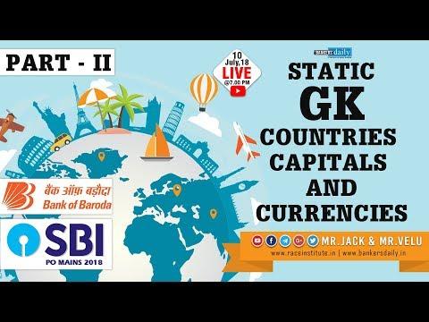 Static GK| Part II | Countries capital and Currencies | for BOB & SBI | Mr.Jack & Mr.Velu