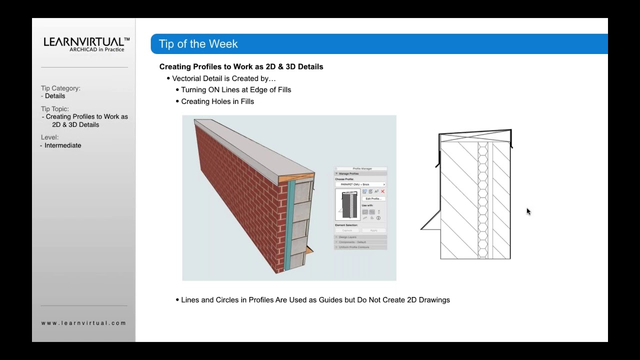 Creating Profiles in ARCHICAD to Work as 2D and 3D Details
