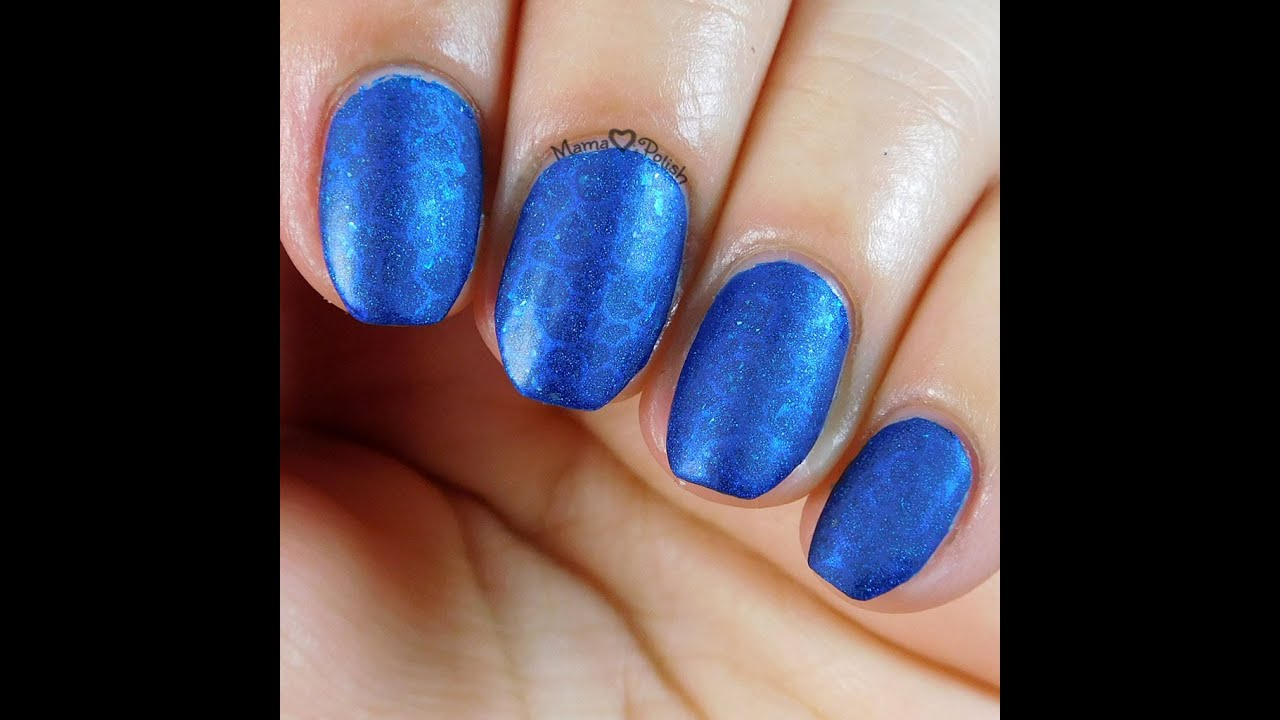 Matte Blue Nail Stamping How To - YouTube