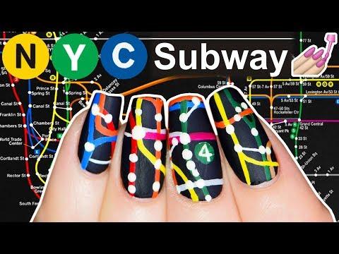 NYC Subway Map Nail Art (not clickbait, Simply Nailogical did this)