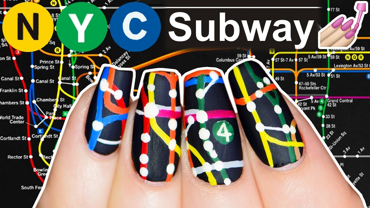 Custom Art Nyc Subway Map.Nyc Subway Map Nail Art Not Clickbait Simply Nailogical Did This