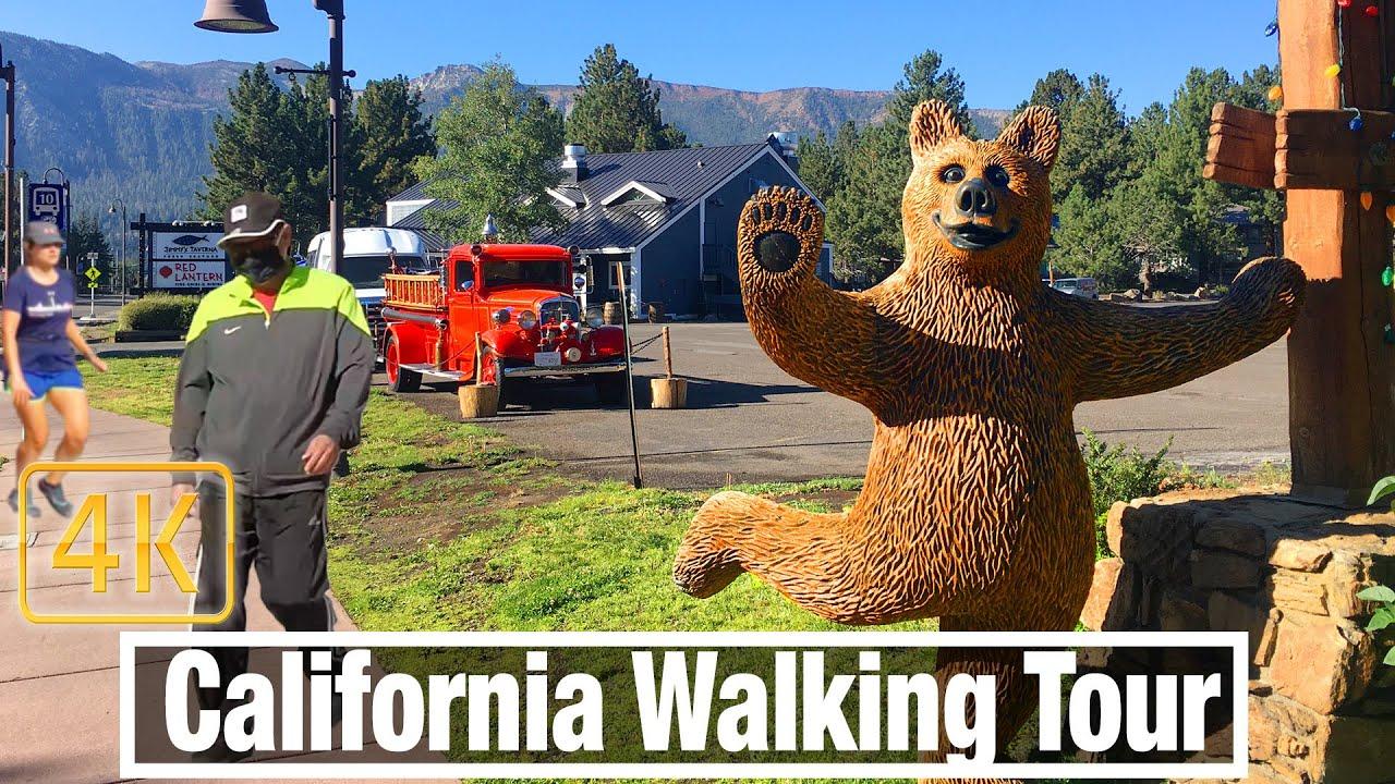 Walking Tour Mammoth Lakes California - 4K California Walk  - Virtual Travel Walking Treadmill Walk