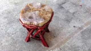 Crystal Stone Top Bamboo Wood Sticks Accent Stool Table Cs382