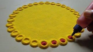 Simple Flower Rangoli Design For Holy Day   Easy Festivals Kolam   Pandaga Muggulu Designs   Rangoli