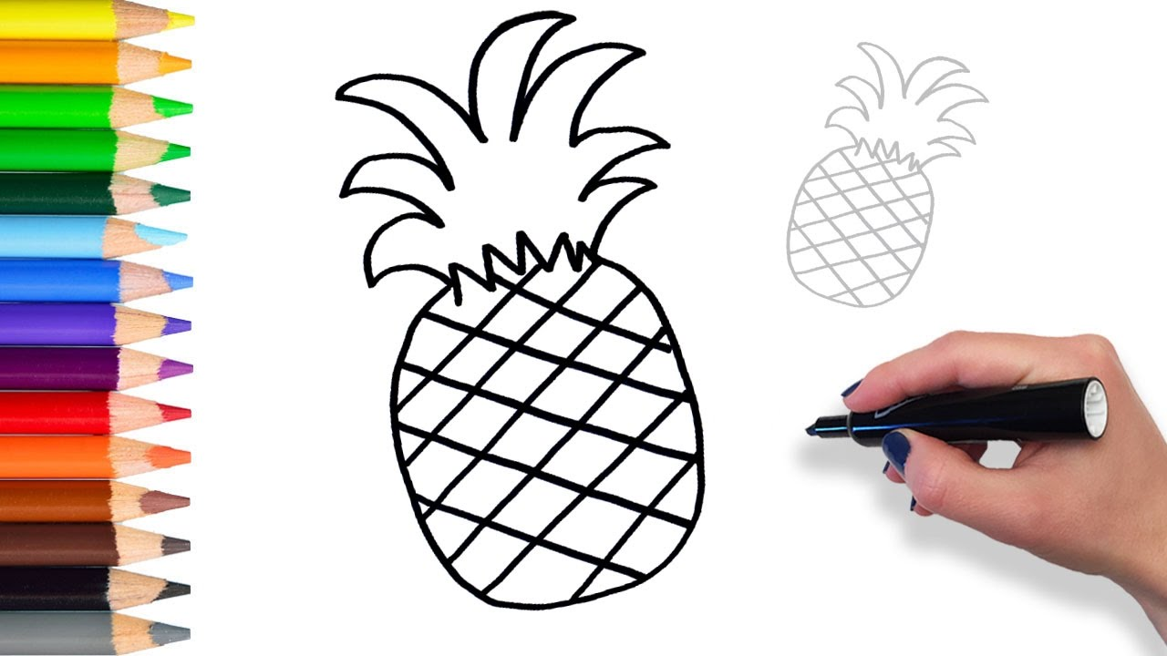 Learn How to draw Pineapple | Teach Drawing for Kids and ...