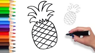 Learn How to draw Pineapple | Teach Drawing for Kids and Toddlers Coloring Page Video
