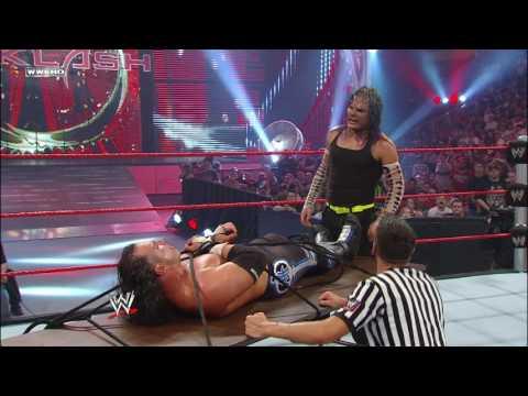 Jeff Hardy ties Matt Hardy to a table for a leg drop: Backlash 2009