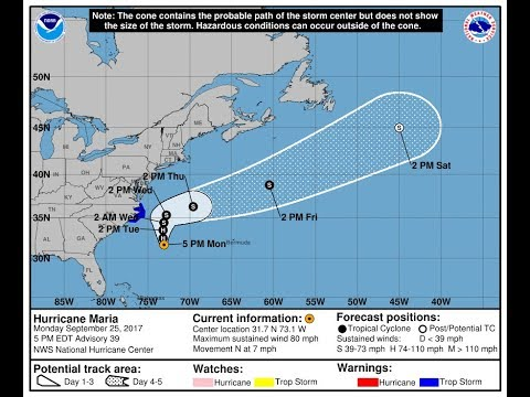 HURRICANE MARIA 80 MPH WILL PASS OFFSHORE. TROPICS TAKE A SHORT BREAK BUT COULD REV UP AGAIN SOON