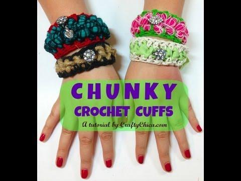 Crochet Wrist Cuffs Bracelet Diy Youtube