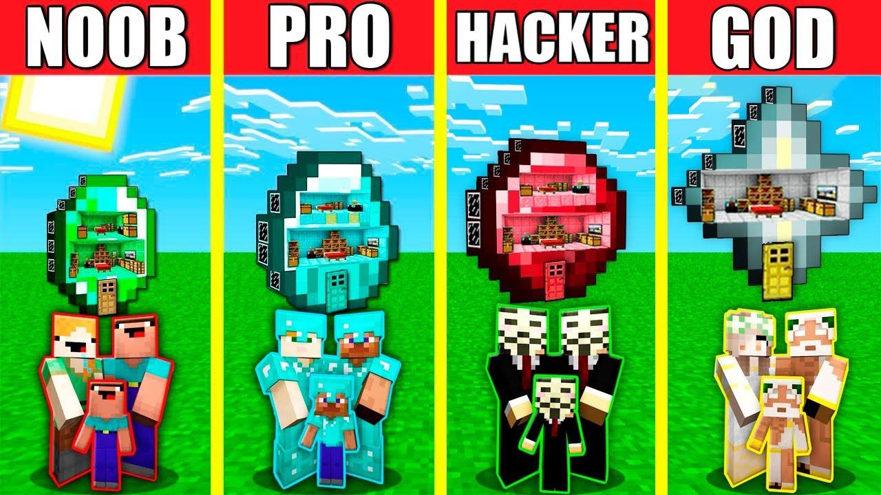 Minecraft Battle: INSIDE TREASURE HOUSE BUILD CHALLENGE - NOOB vs PRO vs HACKER vs GOD / Animation
