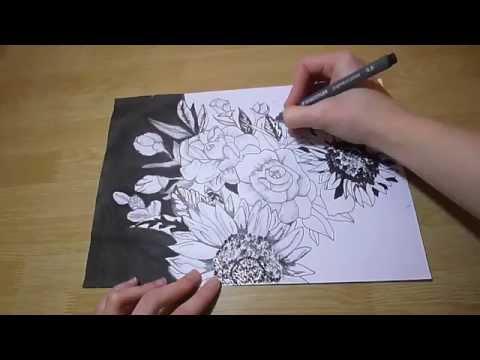 Dibujo Flores Con Lápiz Y Tinta Youtube