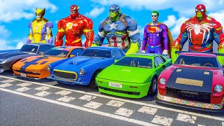 SpiderHulk FOUND RACE Challenge | Fusion Superheroes SuperCars Racing Competition (Funny Contest)