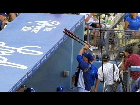 Hyun-jin Ryu 류현진 Steals Uribe's Bats Again 6-28-14 & Headlocked by Yasiel Puig