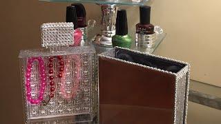 Glam Dollar Tree Nail Polish Holder & Mirrored Perfume Bottle Jewelry Box DIY 💎💎