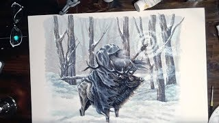 Painting a Wizard Riding an Elk in the Snow