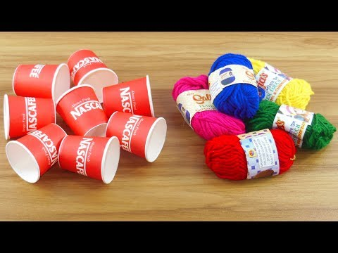 DIY craft ideas with coffee cups & Woolen | Beautiful home deco use Disposable coffee cup