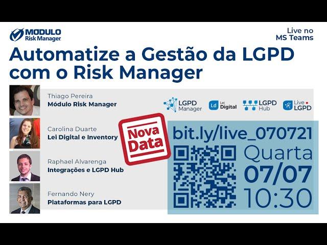 Live Automatize a Gestão da LGPD com o Risk Manager - 07/07