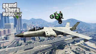 LANDING BIKES ON PLANES! - (GTA 5 Top 10 Stunts)