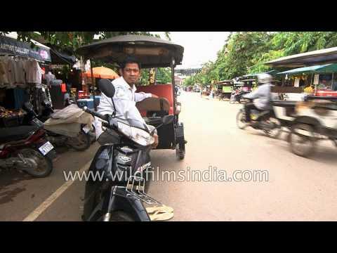 Modes of transportation - bikes, tuk-tuks, cycle in Cambodia