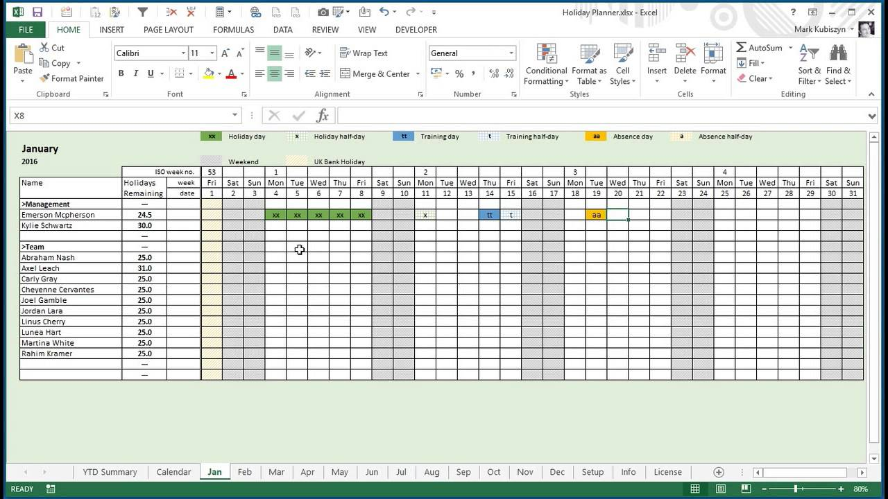 Any Year Holiday Training Absence Planner For Excel Youtube