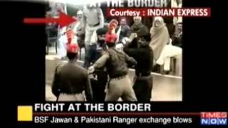 Indian BSF Woman solider Beat up Pakistani Ranger during flag lowering ceremony at Hussainiwala