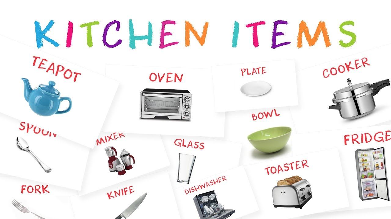 Kitchen tools name kitchen utensils equipment learning for Kitchen set name