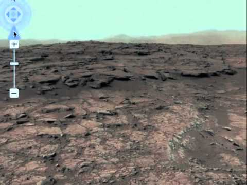 キュリオシティが撮影した火星の360度パノラマ(カラー修正版) - YouTube
