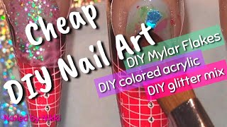 🌻Cheap DIY Nail Art: Mylar Flakes, Colored Acrylic, Glitter Mix & Dried Flowers